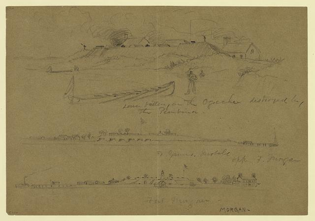 [Three scenes of military facilities: lower battery on the Ogeechee destroyed by the Pembina; Ft. Gaines, Mobile, opp. F. Morgan; and Fort Morgan]