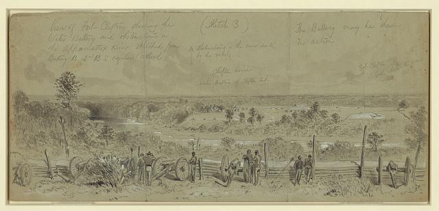 View of Fort Clifton showing the Water Battery and obstructions in the Appomattox River