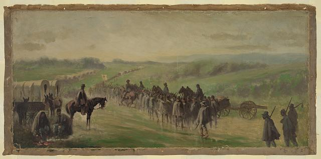 Pursuit of Lee's army. Scene on the road near Emmitsburg - marching through the rain
