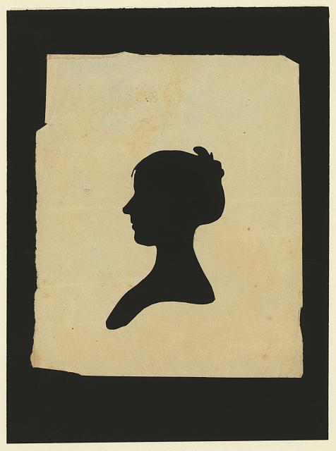 [Silhouette of woman facing left, no. 6]