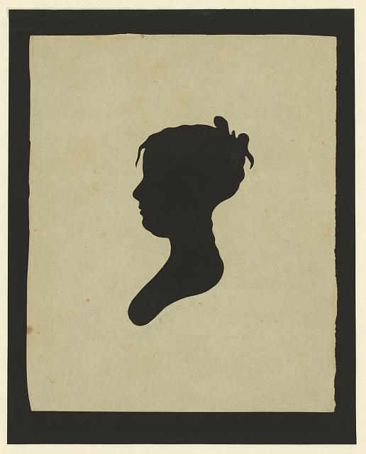 [Silhouette of girl facing left, no. 1]