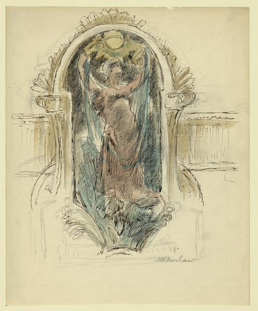 [Study drawing for mural of woman, no. 2]