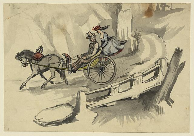 [Man and woman riding in horse-drawn cart]