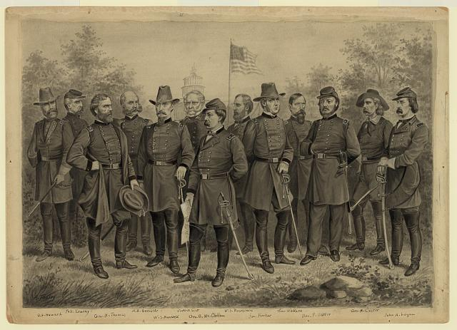 [U.S. Army and Cavalry officers in front of the U.S. Capitol Building]