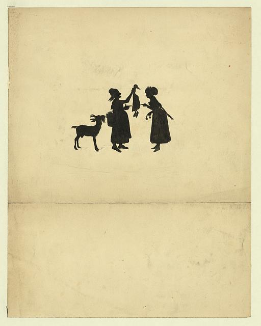 [Silhouette of an old woman holding up a goose to a young woman]