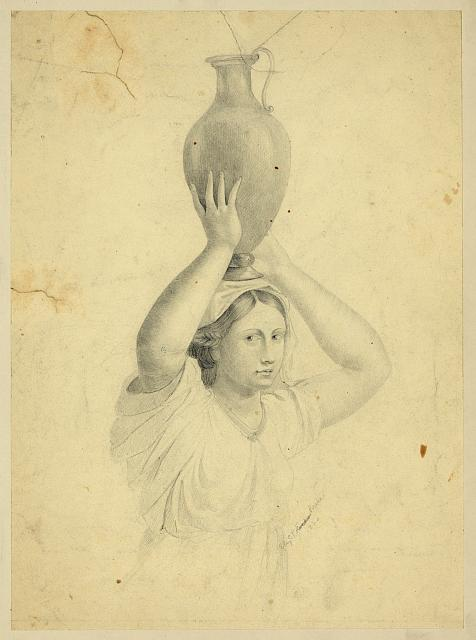 [Woman holding jug atop her head]