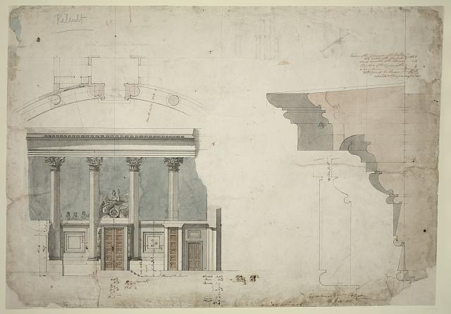 [United States Capitol, Washington, D.C. Entrance, House of Representatives - plan, elevation, section, detail]
