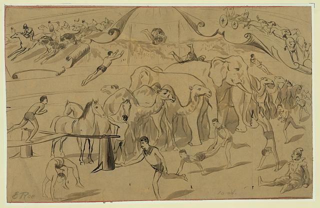 [Circus sketches: clowns and elephants]