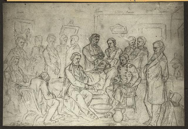 [Drawing of the death bed scene of President Abraham Lincoln, with Chase, Denison, Dr. Leale, Sumner, Dr. Crane, Gen. Barnes, Halleck, and Stanton]