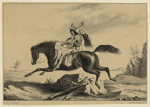 [Print speciman of American Indian man on horseback with struggling Caucasian woman]
