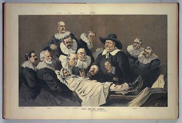 """Taft and his cabinet --after Rembrandt's """"Anatomy Lesson"""""""