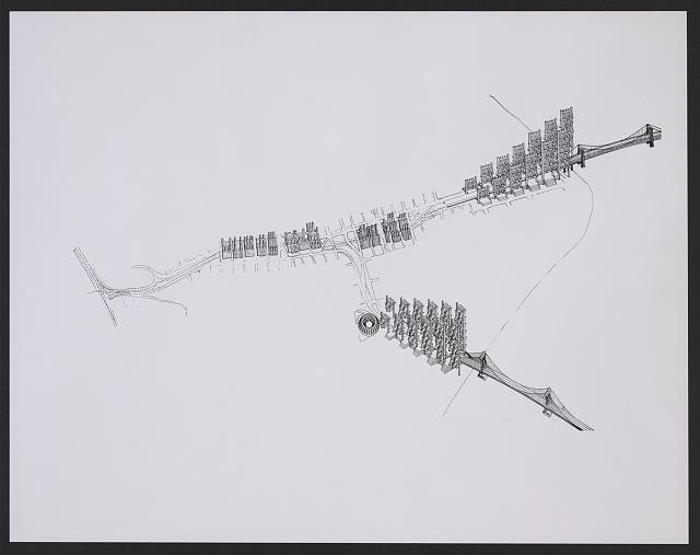[Lower Manhattan Expressway, New York City. Bird's-eye perspective drawing]