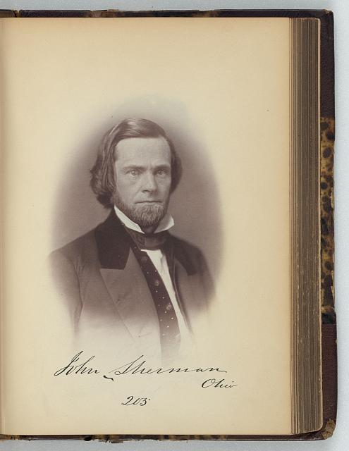 [John Sherman, Representative from Ohio, Thirty-fifth Congress, half-length portrait]