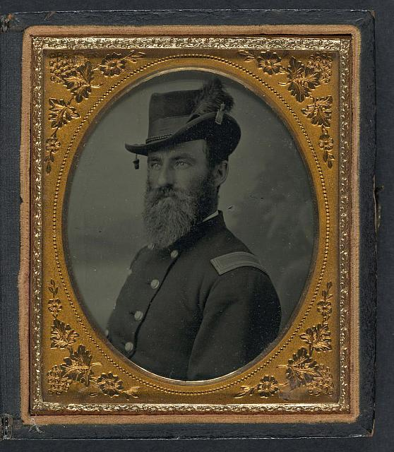 [Unidentified soldier in Union second lieutenant's uniform and hat with plume]