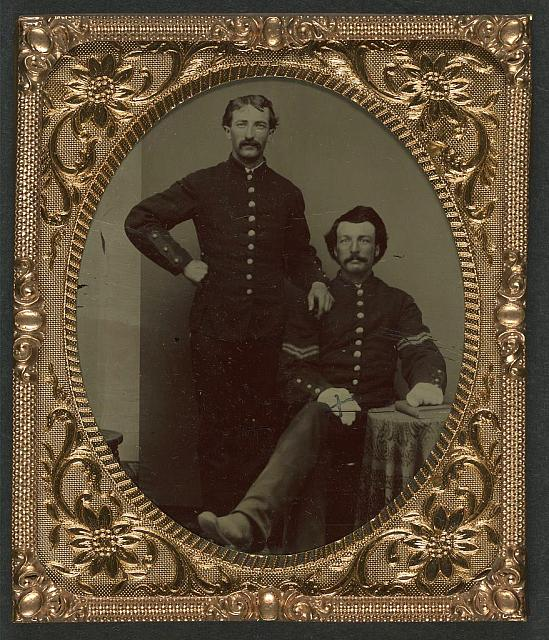 [Two unidentified soldiers in Union uniforms, one in corporal's uniform and dress gloves]