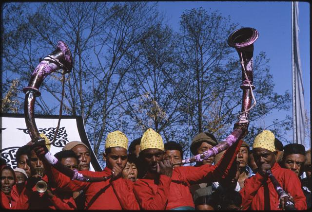 [Nepalese band playing curved horns at coronation of the King of Sikkim]