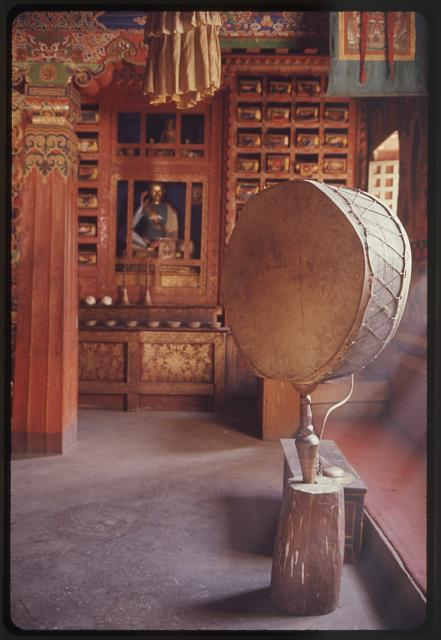 [Drum inside royal palace temple, Gangtok, Sikkim]