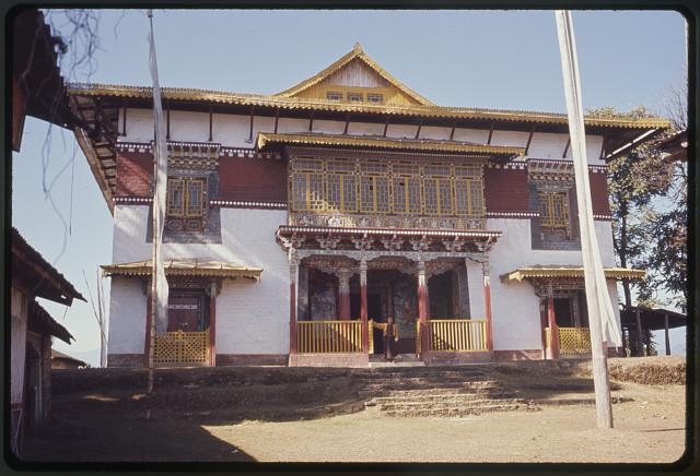 [Exterior of Pemayangtse Monastery with prayer flags, Sikkim]
