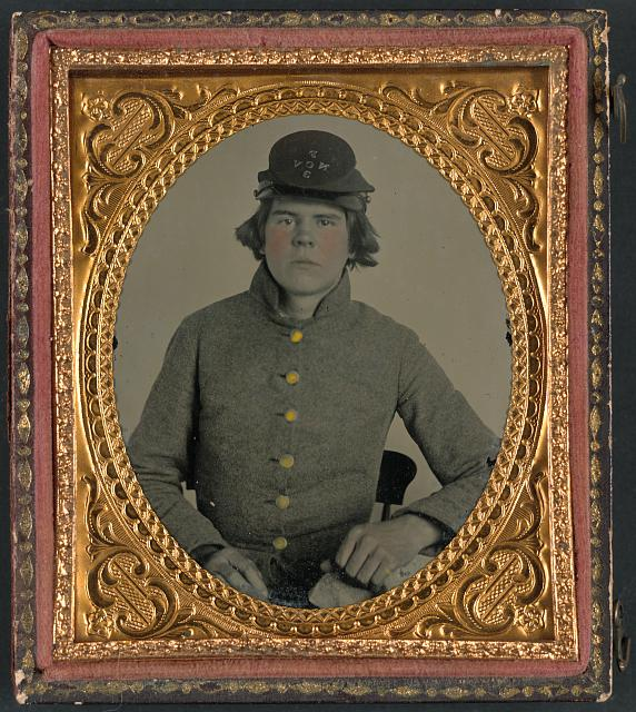 [Private Philip A. Nail of Co. F, 13th North Carolina Infantry Regiment in uniform with North Carolina state seal buttons and Co. F, 3rd North Carolina Volunteers (13th North Carolina Infantry) Regiment hat]