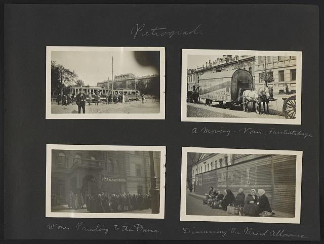 Petrograd. [People and trolleys]. A moving van - Furstadtskaya. Women parading to the Duma. Discussing the bread allowance
