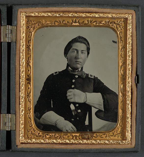 [Unidentified soldier in uniform and gauntlets, probably Union uniform]