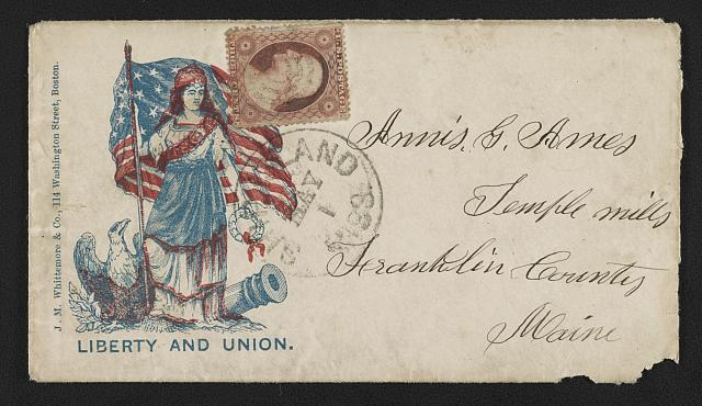 "[Civil War envelope showing Columbia with American flag, laurel wreath, eagle, and cannon with message ""Liberty and Union""]"