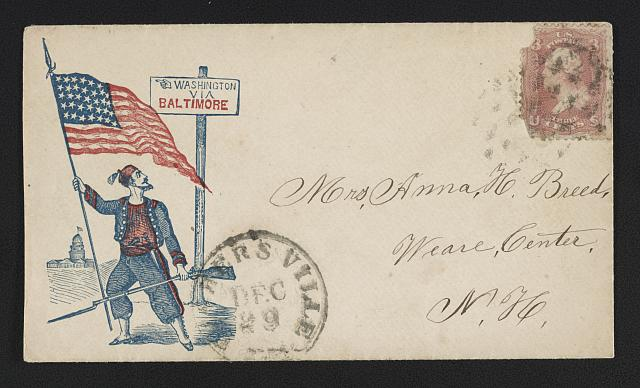 "[Civil War envelope showing Zouave soldier with American flag and rifle in front of sign with message ""Washington via Baltimore""]"