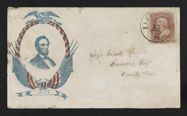 [Civil War envelope showing portrait of Lincoln in oval border decorated with eagle and American flags]