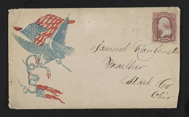[Civil War envelope showing eagle with American flag in talon attacking serpent with 7-star Confederate flag]