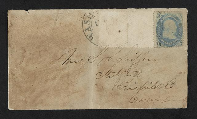 "[Civil War envelope showing (on back) U.S. Capitol building with message ""2d Connecticut Battery -- Capt. John W. Sterling"""