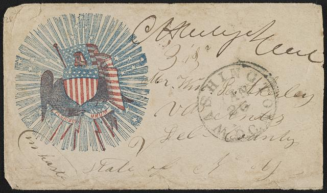 [Civil War envelope showing American flag and shield surrounded by stars and rays of light]