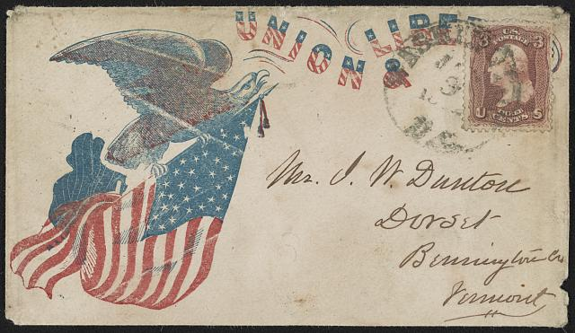 "[Civil War envelope showing eagle holding American flag in talons with message ""Union & libe[rty]""]"