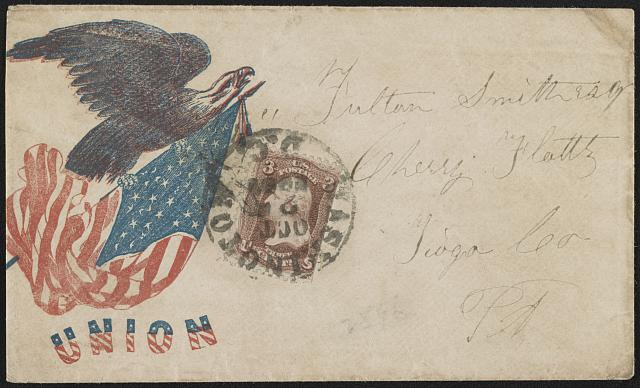 "[Civil War envelope showing eagle atop shield with message ""Union""]"