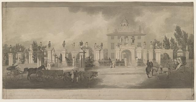 [Home of Lord Timothy Dexter, Newburyport, Massachusetts with wooden statues on pillars and passersby enjoying the view]