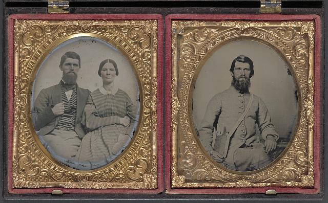 [Dr. Alexander Harris of 15th Virginia Infantry Regiment in uniform and Dr. Harris with his wife after the war]