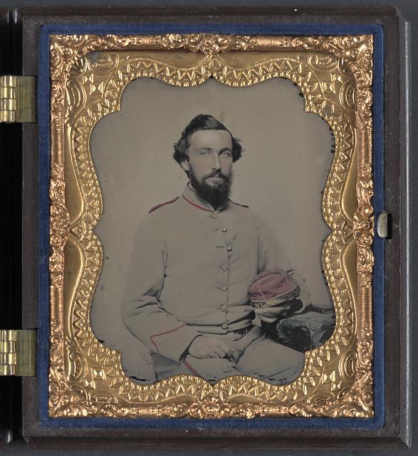 "[Unidentified soldier in Norfolk ""Light Blues"" Virginia Light Artillery Battery uniform]"