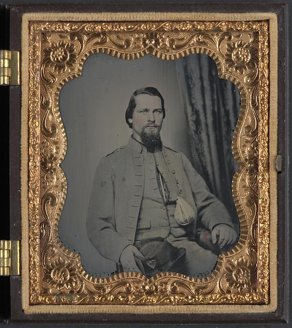 [Unidentified soldier of Laurel Brigade Virginia Cavalry Regiment with tobacco pouch]