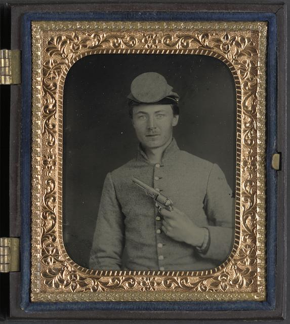 [Private Peter Jones of 12th Virginia Infantry Regiment, with pistol]