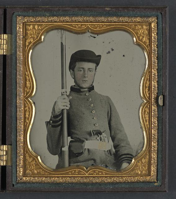 [Private Peter Lauck Kurtz of Company A, 5th Virginia Infantry Regiment, in uniform with musket and revolver]