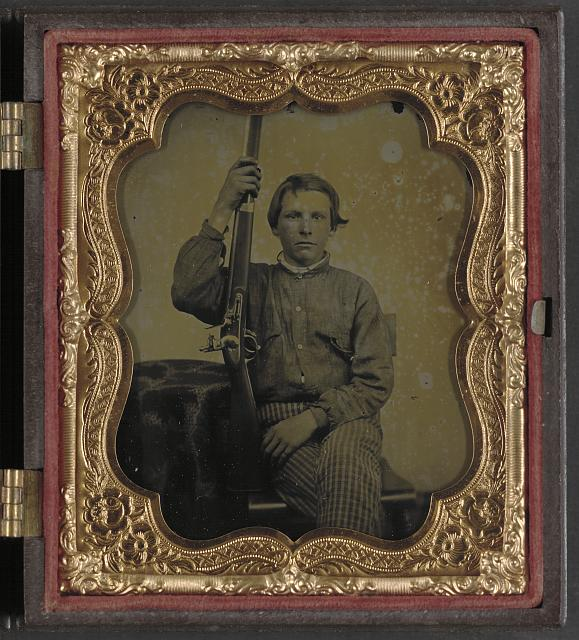 [Private William H. Presgraves of Company K, 97th Militia Virginia Infantry Regiment, with rifle]