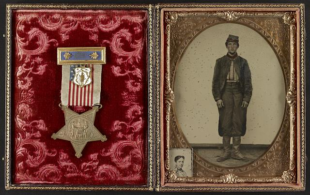 [Private Charles F. Sherman of 2nd Massachusetts Light Artillery Battery, with inset photo of unidentified woman and Grand Army of the Republic medal in case]