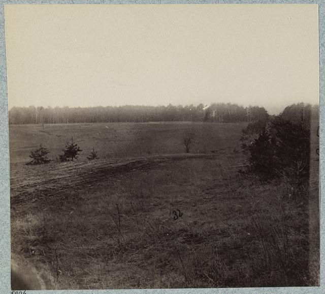 Palmer's field, on Orange Turnpike four miles from Wilderness Church Confederate entrenchments at edge of woods