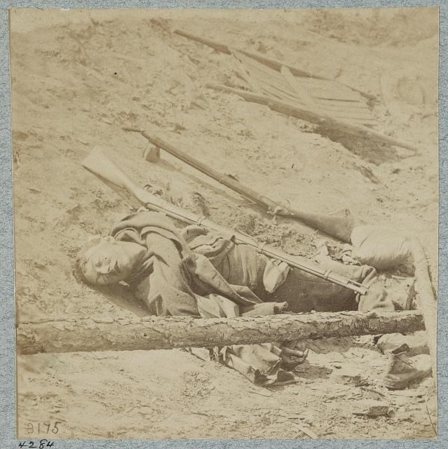 Dead Confederate soldiers in trenches of Fort Mahone in front of Petersburg, Va., April 3, 1865