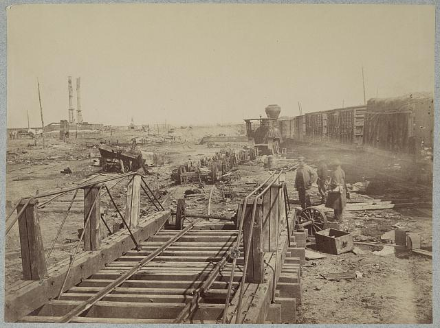 Ruins at Manassas Junction, Va. after its evacuation by Confederates, March 1862