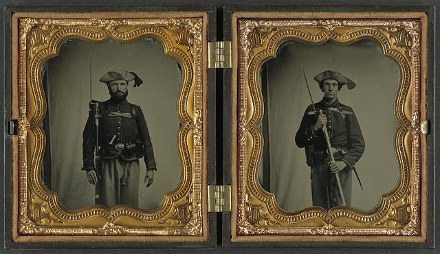 [Two unidentified soldiers in 34th Ohio Infantry Regiment uniforms with bayoneted muskets]