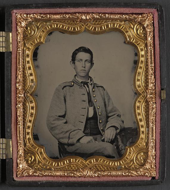[Unidentified young soldier in Confederate infantry uniform]