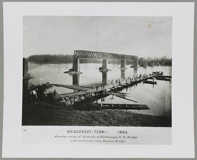 Bridgeport, Tenn. (i.e. Alabama), 1864, showing ruins of Nashville & Chattanooga R.R. bridge and construction of a pontoon bridge