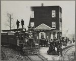 Hanover Junction Pennsylvania, 1863, railroad station. Detail of engine in yard and waiting crowd