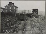 Hanover Junction Pennsylvania, 1863, railroad yards. Detail of tracks, engine, boxcar, and crowd