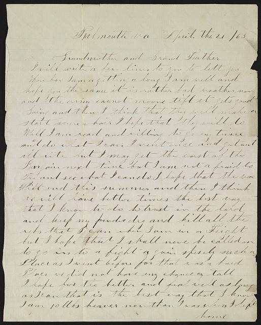 [Letter from Charles W. Boardman to his grandparents, Polly and Eli Wyman, from Falmouth, Va.]